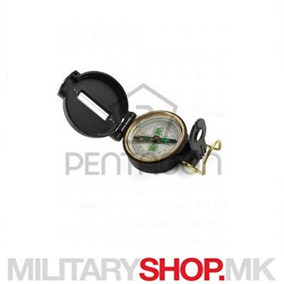 Мал тактички воен компас од пластика во црна боја