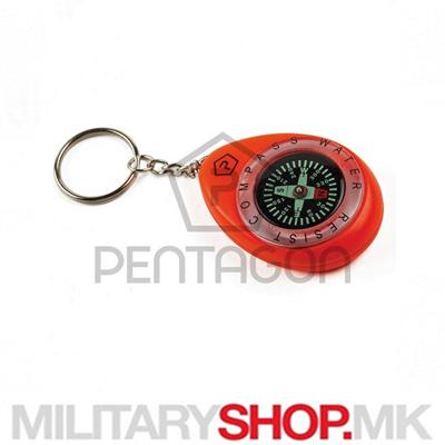 Привезок за клучеви со компас Pentagon во црвена боја