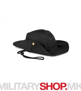 Црн SAFARI шешир со врвца од памук